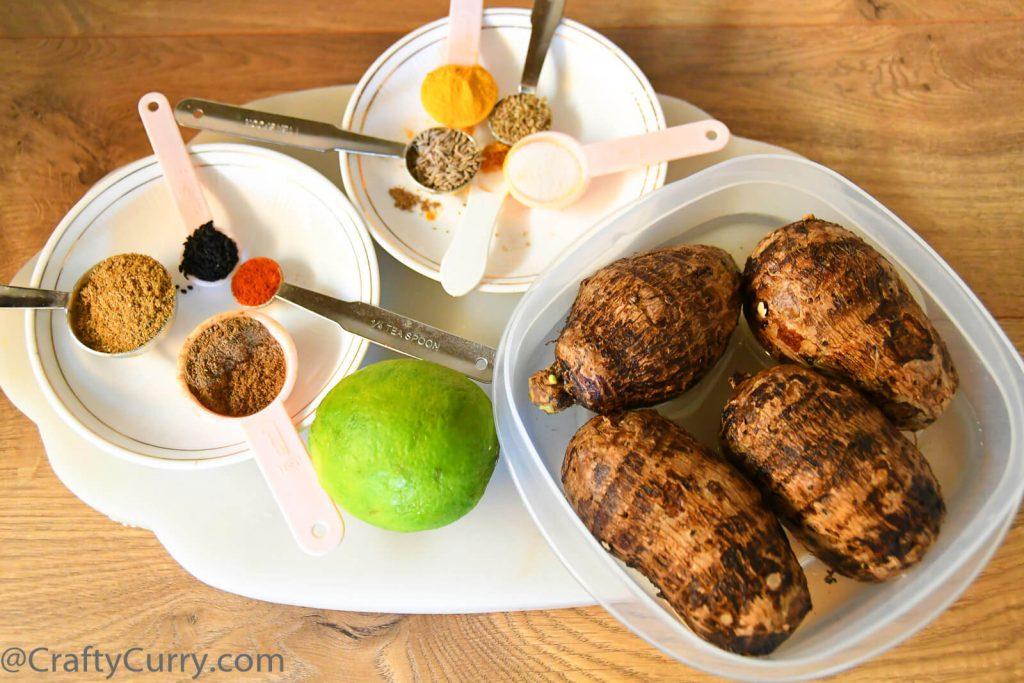 kurkuri-arbi-ghuiya-subji-ingredients